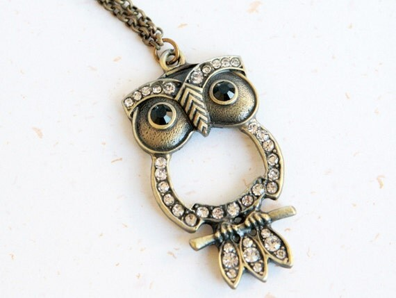 My lucky Owl Necklace - Vintage bronze color with crystal