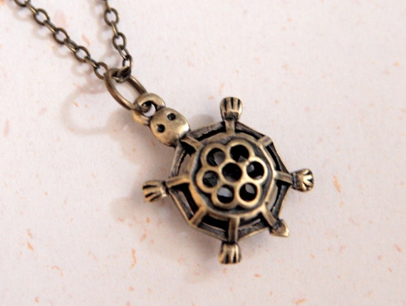 Cute Little Turtle Necklace (N203) in vintage brass color
