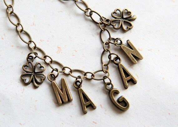 Custom Name Bracelet with clover (B024)