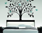 Ornate Tree with Little Birds - vinyl wall sticker decal - dd1015