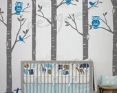NEW DESIGN -Wild Birch Forest with Owls - 101in tall 5 trees - dd1045 LARGE Vinyl Wall Decal Sticker Art