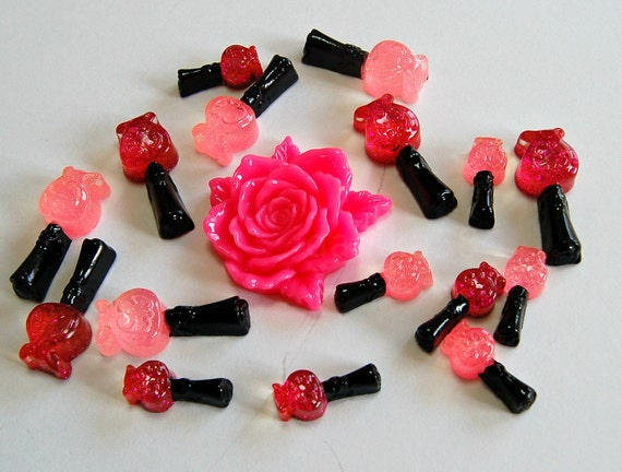 17pcs decoden cabochon set rose flower pink hotpink nails polish bottle
