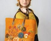 OOAK --- SET --- Nuno Felted Handbag AND Hat --- Fall Flowers ---- wool orange