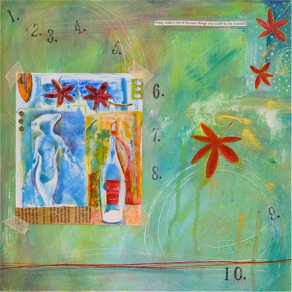 Contemporary Mixed Media Print titled, Ten nice things...woman, wine & time to oneself