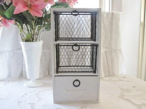Shabby Storage Shelf with Wire Baskets