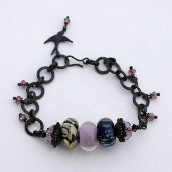 Bracelet, Artisian Lampwork Glass and Fallen Angel Brass, 7.5 Inches Long