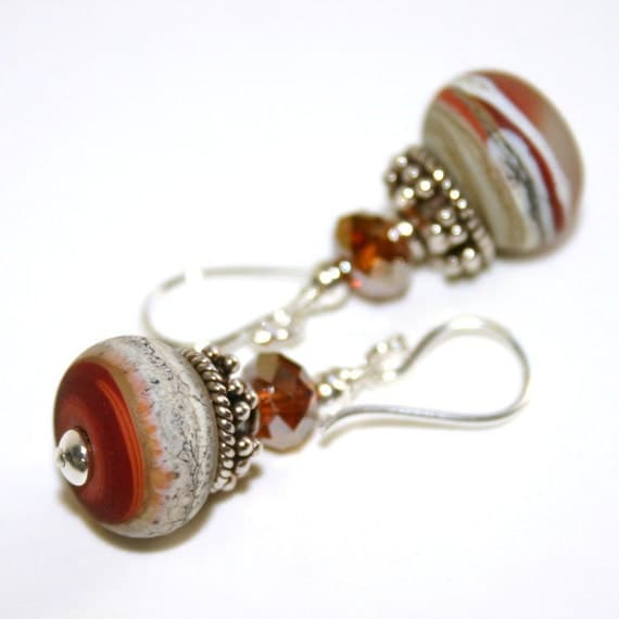 Autumn Colors Earrings, Artisan Lampwork Glass and Sterling