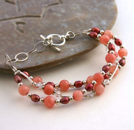 Pink Red Bracelet, Sterling Silver, 7 Inches