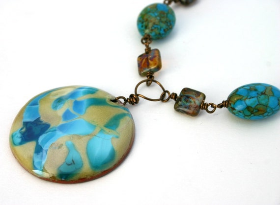 Colorful Necklace, Lime and Turquoise