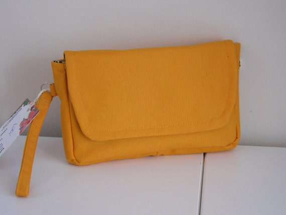 Orange cotton canvas wristlet clutch