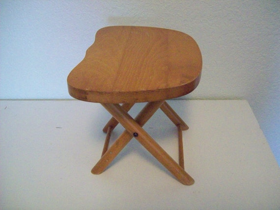 1950s Wooden Folding Stool By Nevco