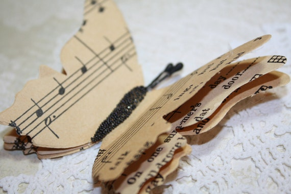 Upcycled Butterfly Magnet Vintage Music Note Paper Medium