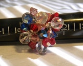 Sparkly Cocktail Ring, Crystal Cocktail Ring, Sterling Silver, Crystals, Bling Ring, Red White & Blue