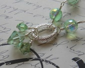 Green necklace, crystal necklace, Silver necklace, Spring Fashion, Christmas, St Patricks Day