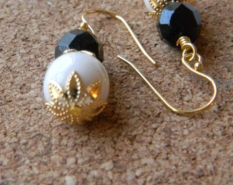 Black and white earrings Dangle earrings beaded earrings Vermeil earwires Black and White jewelry