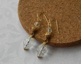 Vintage Crystal Clear Earrings, Dangle earrings, multi faceted crystals, vermeil earwires