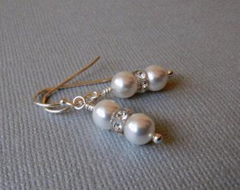 Pearl Bridal Earrings Swarovski Pearls Crystals Wedding Earrings Handformed earwires