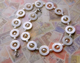 Mother of pearl necklace freshwater pearl Necklace White necklace Spring Fashion Womens Fashion