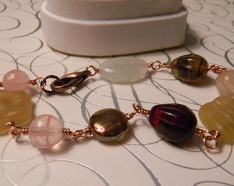 Wire wrapped Vintage style bracelet in natural tones Pink Peach Brown Copper Amber Yellow White