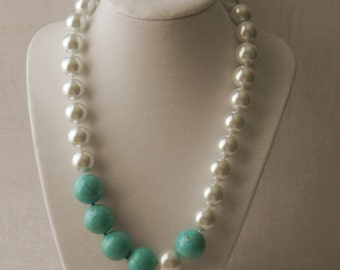 Chunky Pearl and Turquoise Necklace An Asymmetrical Statement Necklace