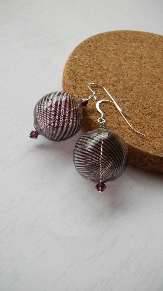 Big Earrings Ball Earrings Purple Earrings, Hollow glass Earrings, Womens Fashion Jewelry, Large earrings