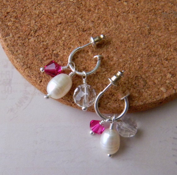 Convertible Earrings White pearls Crystals Pink White Crystal Clear Interchangeable Earrings Sterling Silver hoop Womens Fashion Jewelry