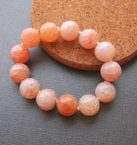 Peach Bracelet Agate Bracelet Gemstone stretchy bracelet sterling Stacking Bracelet  Womens Fashion Jewelry