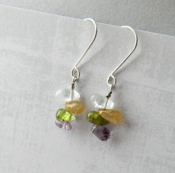 Tourmaline Earrings, October Birthstone, Gemstone Drop Earrings, Sterling Silver, Handmade