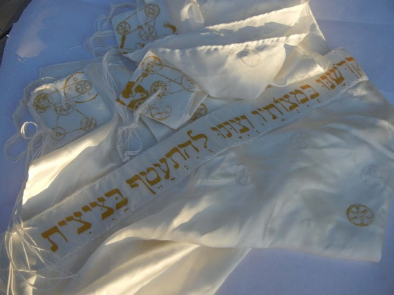 Silk Tallit with Gears and Mechanisms --Traditional from afar, pleasantly nerdy up close (made to order)
