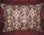 Accent Pillow Cover. 12 x 16. Brown. Tan. Damask. Decorative Pillow Cover