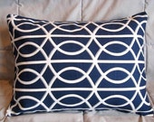One Lumbar Pillow Cover 12 x 16 in Dwell Studio Bella Porte Twilight by Robert Allen Fabric - Navy Blue and White Geometric