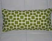 Decorative Accent Pillow Cover 8 x 17 with Insert - Green. Cream. Cats Cradle.
