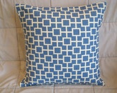 Pillow Cover. Blue. Ivory. Cats Cradle. Geometric. 18 x 18. Decorative Pillow. Accent Pillow Cover