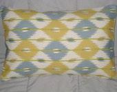 Pillow Cover. Yellow. Blue Gray. Cream. Ikat. 12 x 18. Decorative Pillow Cover. Accent Pillow Cover