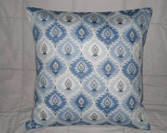 Pillow Cover. Blue. Pale Gray. White. Damask. 18 x 18. Accent Pillow Cover. Decorative Pillow Cover