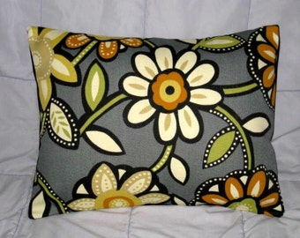 Pillow. Gray. Orange. Green. Cream. Flowers. 14 x 18. Accent Pillow Cover