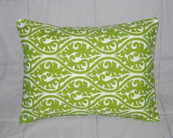 Pillow. Green. Chartreuse. White. Damask.12 x 16. Accent Pillow Cover. Decorative Pillow Cover