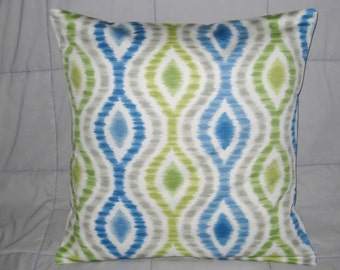 Pillow Cover. Blue. Green. Gray. Off White. 18 x 18. Decorative Pillow Cover. Accent Pillow Cover