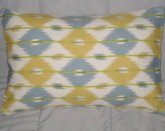 Pillow Cover. Yellow. Blue Gray. Cream. Ikat. 12 x 18. Decorative Pillow Cover. Accent Pillow Cover