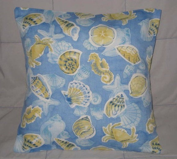 SALE - Pillow Cover. Blue. Green. Yellow. Ivory. Seashells and SeaHorses. 16 x 16. Accent Pillow Cover