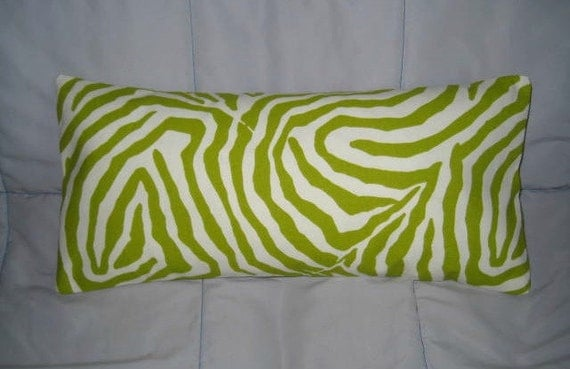 Green. Ivory. Zebra. Pillow. 8 x 17. Comes with Insert. Decorative Pillow Cover