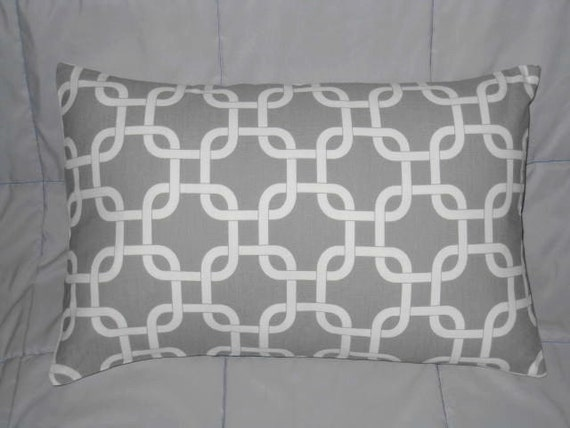 Pillow Cover. Gray and White. 12 x 18. Geometric. Accent Pillow Cover. Decorative Pillow Cover
