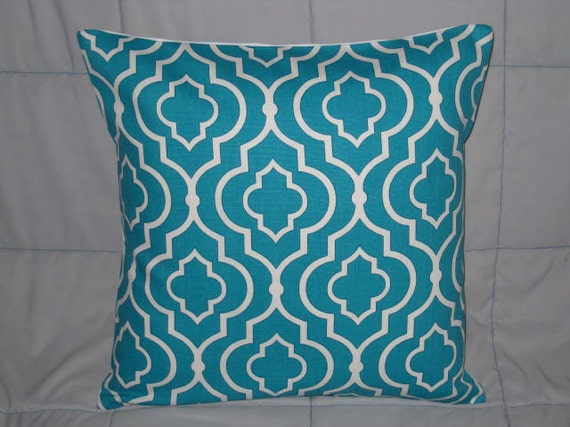 Pillow Cover. Turquoise. White. Geometric. 16 x 16. Accent Pillow Covers. Decorative Pillow Cover
