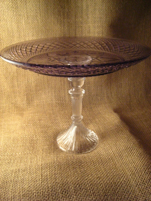 Beautiful vintage amethyst cake stand for Beautiful cake stands