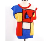 SALE Vintage 80s abstract MONDRIAN knit sweater top / Color block geometric shirt