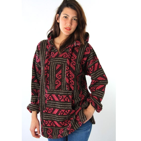 Items Similar To 90s Mexican Knit DRUG RUG Baja Hoody On Etsy