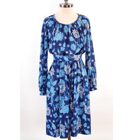 SALE Vintage 1970s blue floral mini dress / Boho draped design