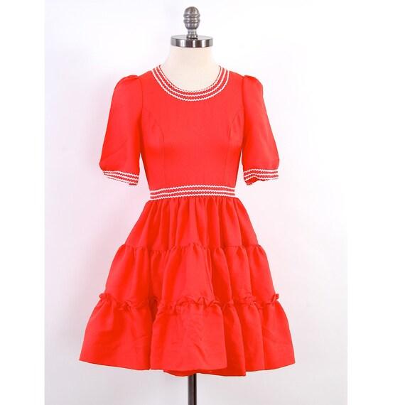 SALE Vintage 60s orange square dance dress / White rick rack trim