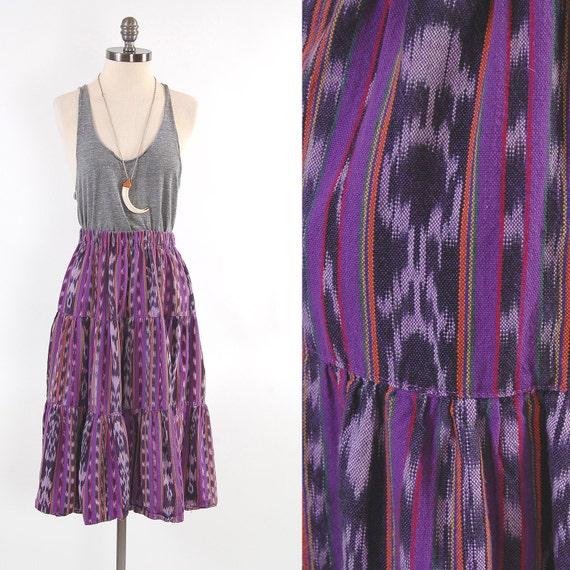 Vintage Southwestern purple Guatemalan IKAT skirt / Mid calf / Grunge tribal