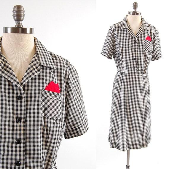 Vintage 50s black white GINGHAM shirtwaist dress / Red hanky in pocket